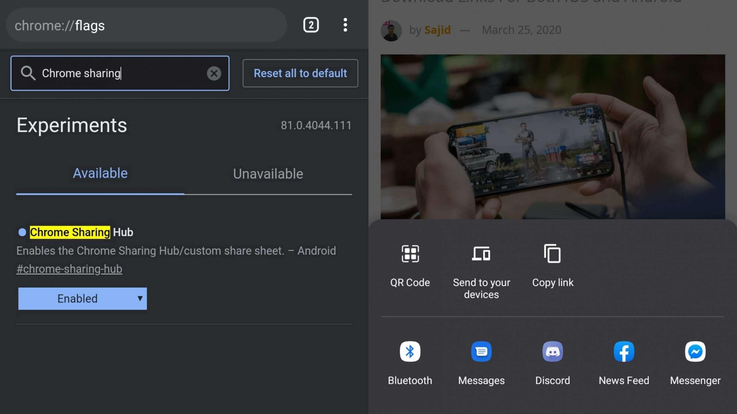Chrome Sharing Hub - Best Google Chrome Flags Android