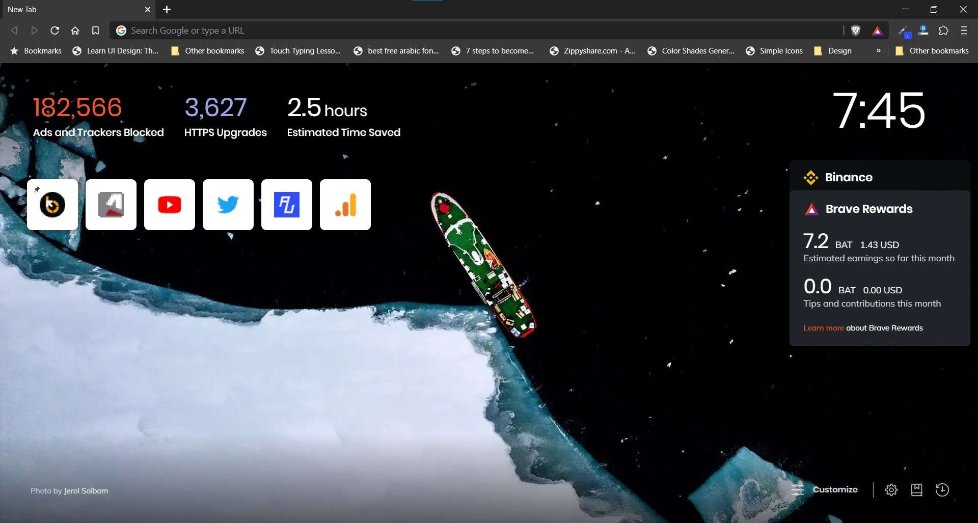Brave Browser: UI on New Tab Page