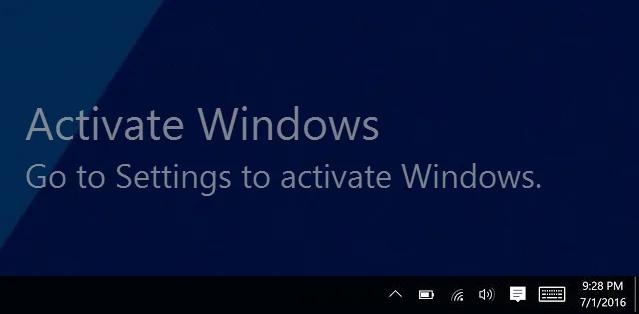 Activate Windows watermark on Windows 10