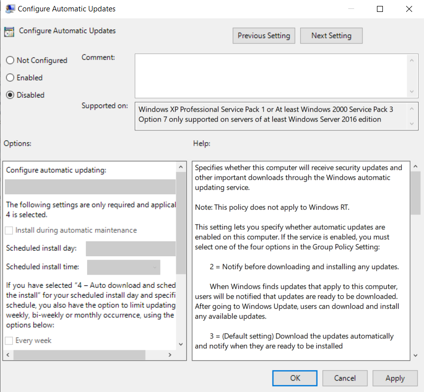 Disable/Stop Automatic Updates in Group Policy Editor