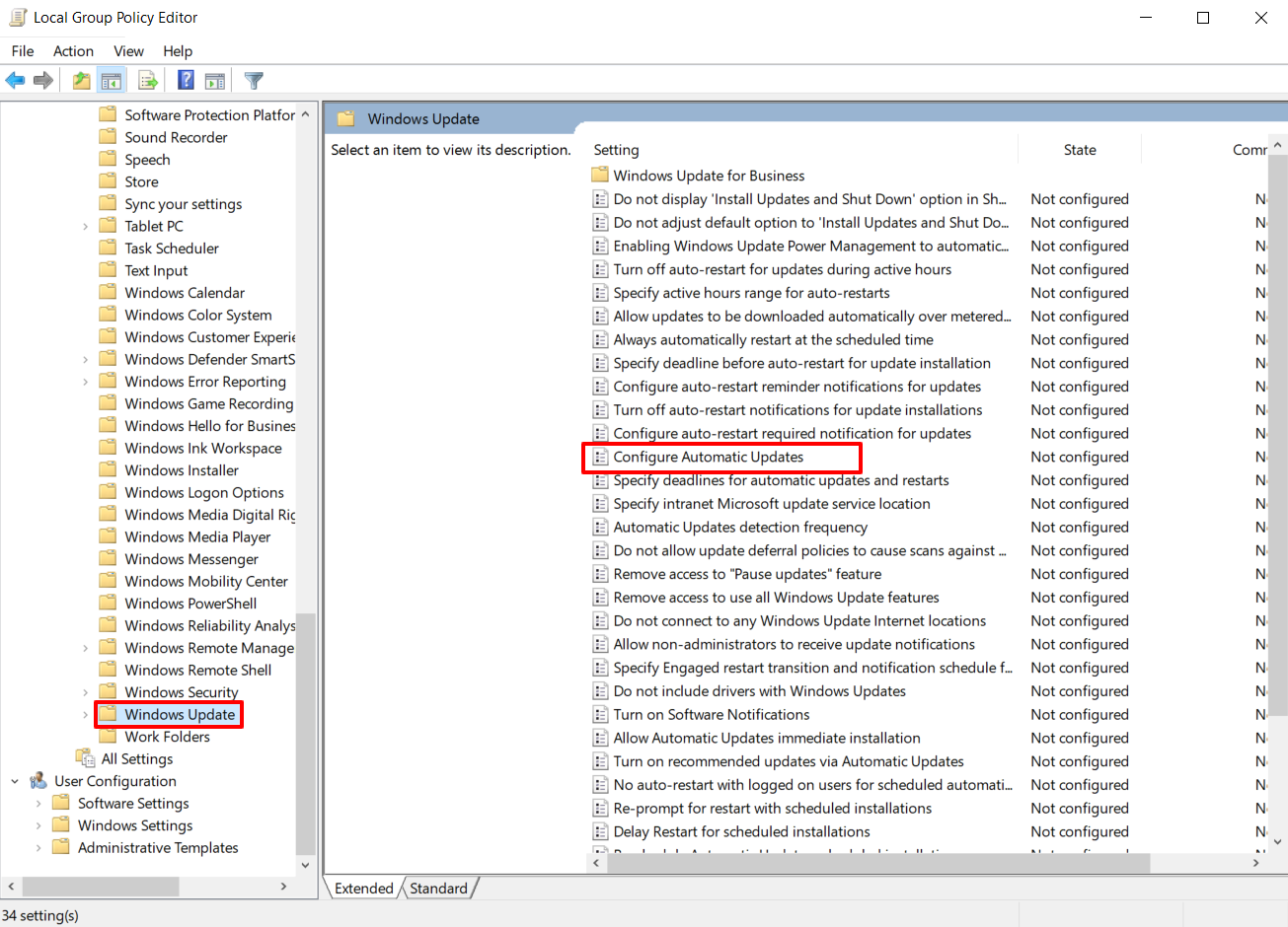 Using Group Policy Editor on Windows 10 to Stop Automatic Updates