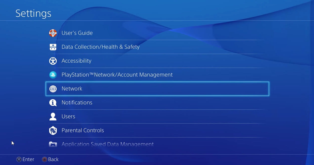 Settings on PS4