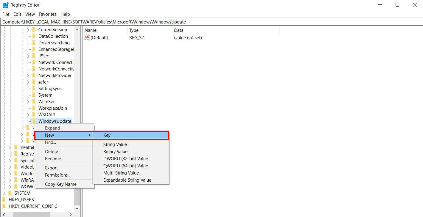 New AU Key Value in Registry Editor to Stop Automatic Updates on Windows