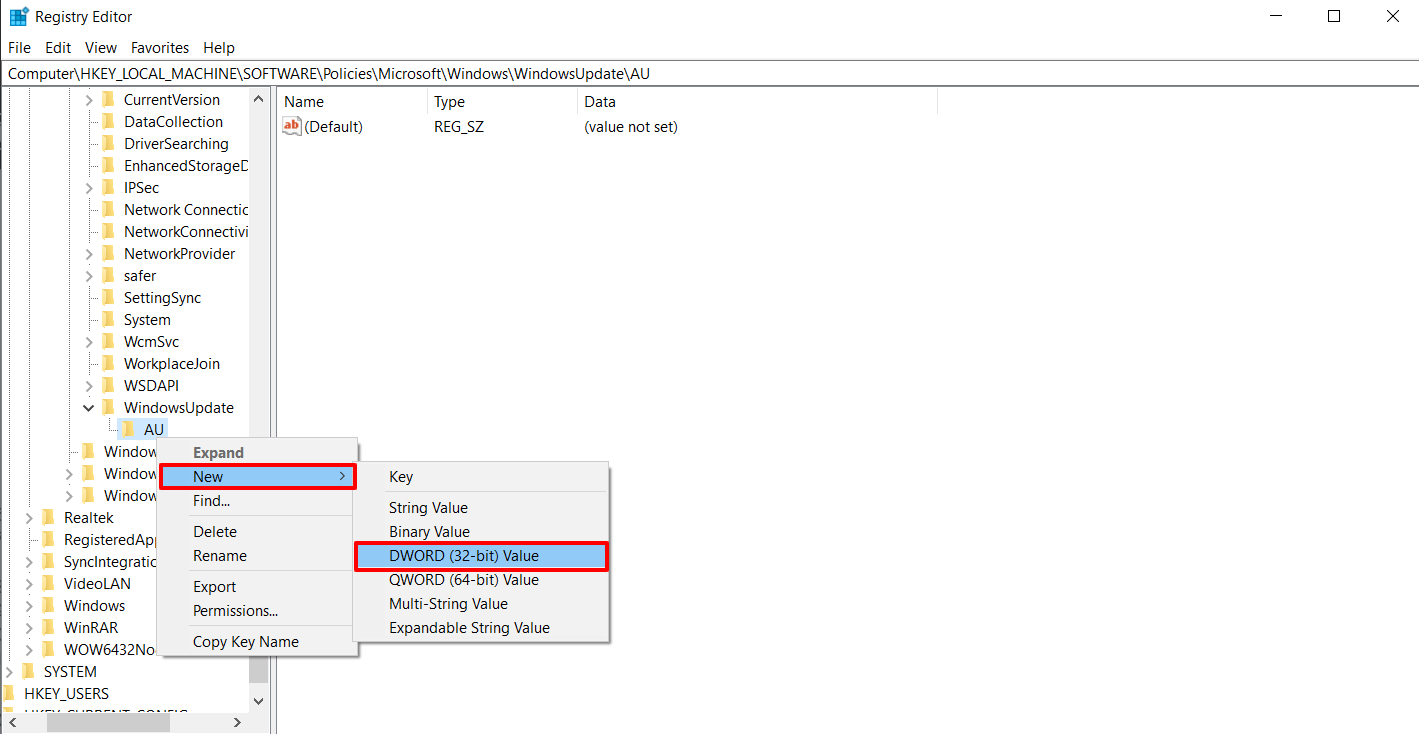 New NoAutoUpdate DWORD 32-bit Value in Registry Editor to Stop Automatic Updates on Windows