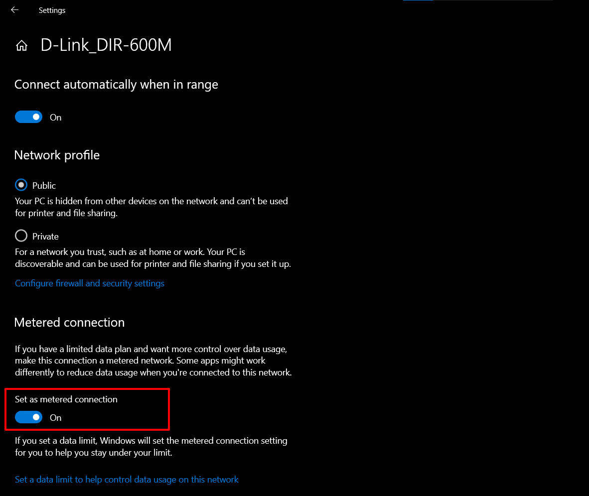 Set Metered Connection to Stop Automatic Updates