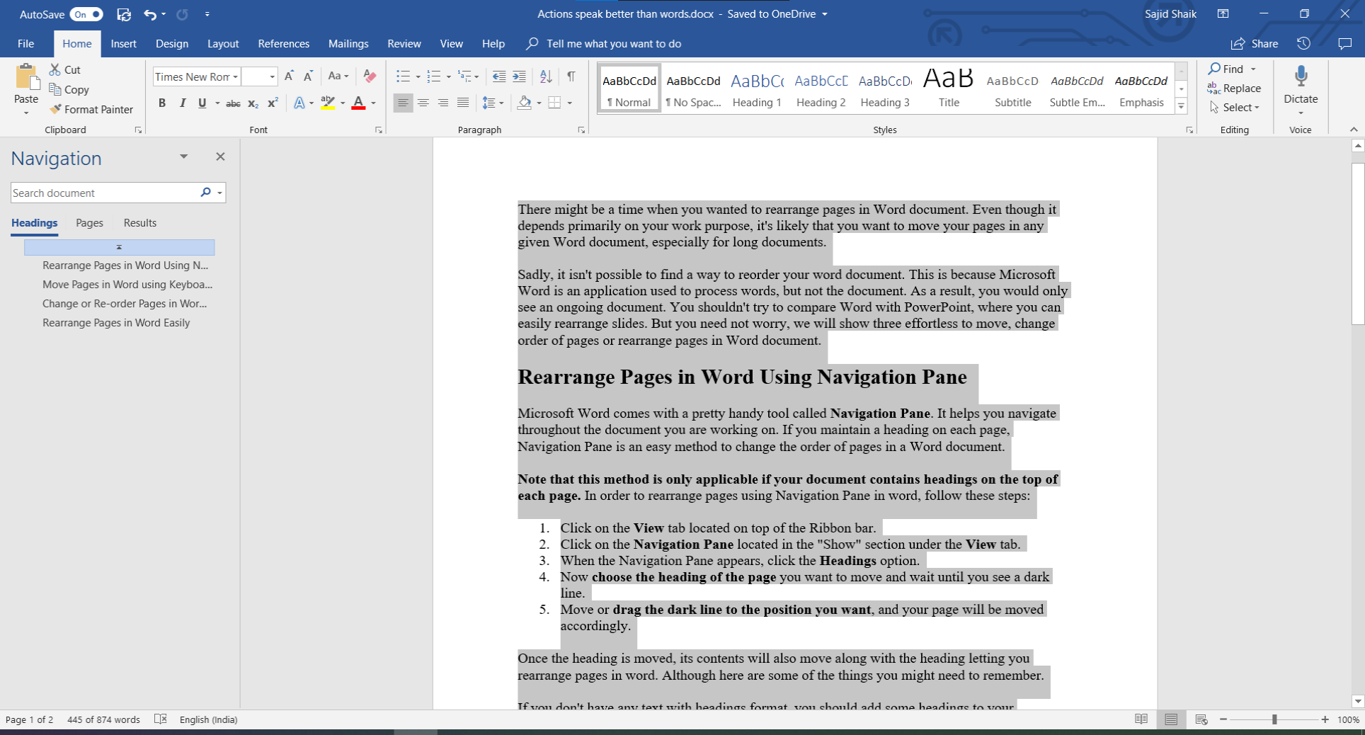 rearrange pages in word