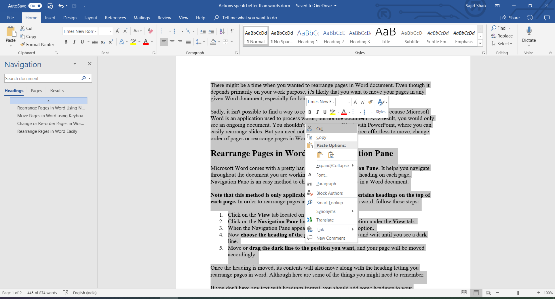 Rearrange Pages in Word using mouse cut and paste