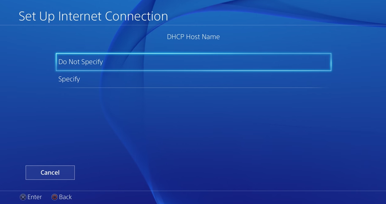 PS4 DHCP Settings