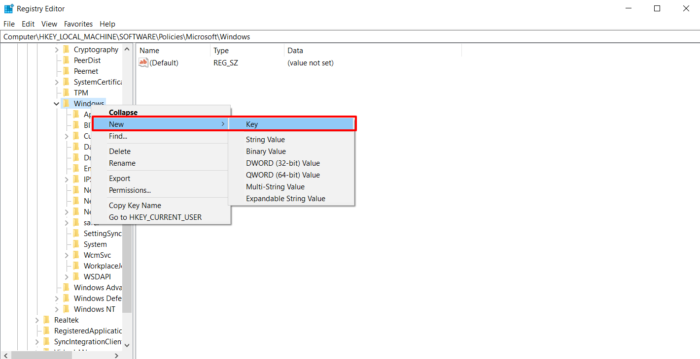 New WindowsUpdate Key Value in Registry Editor to Stop Automatic Updates on Windows