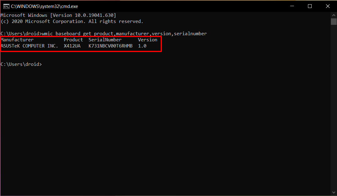 Find your Motherboard Model using Command Prompt (CMD) on Windows 01
