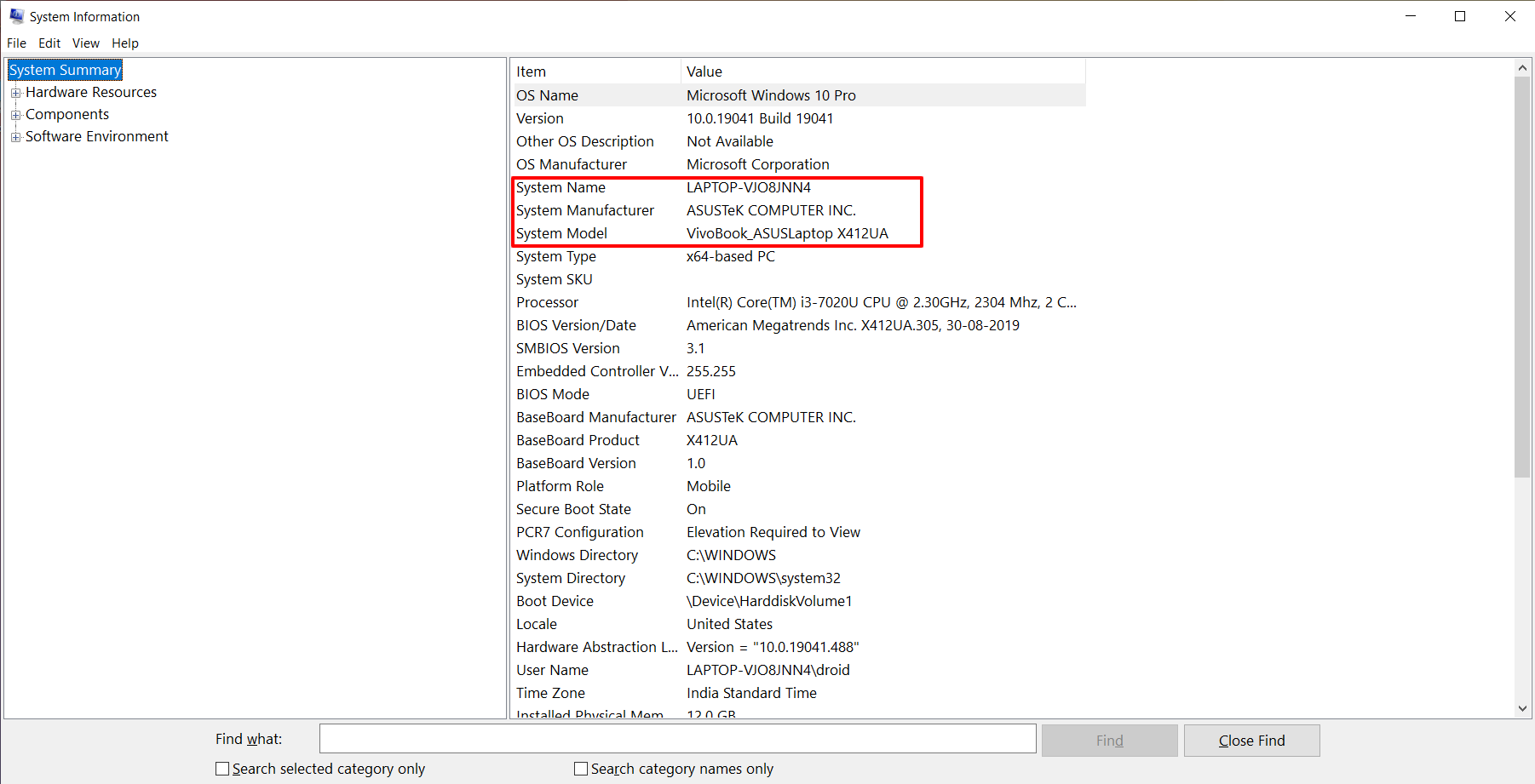 Check Motherboard Model Using System Information on Windows