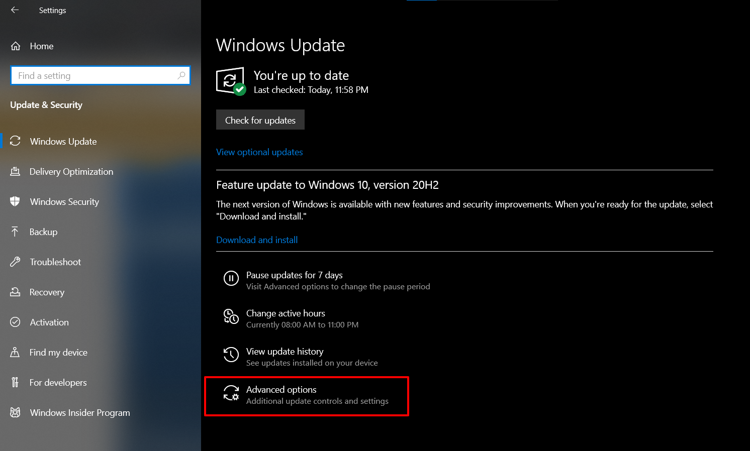 Advanced Options - Stop Automatic Updates on Windows 10