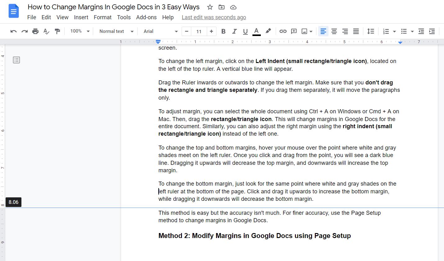 Change Margins in Google Docs with Bottom Indent Ruler
