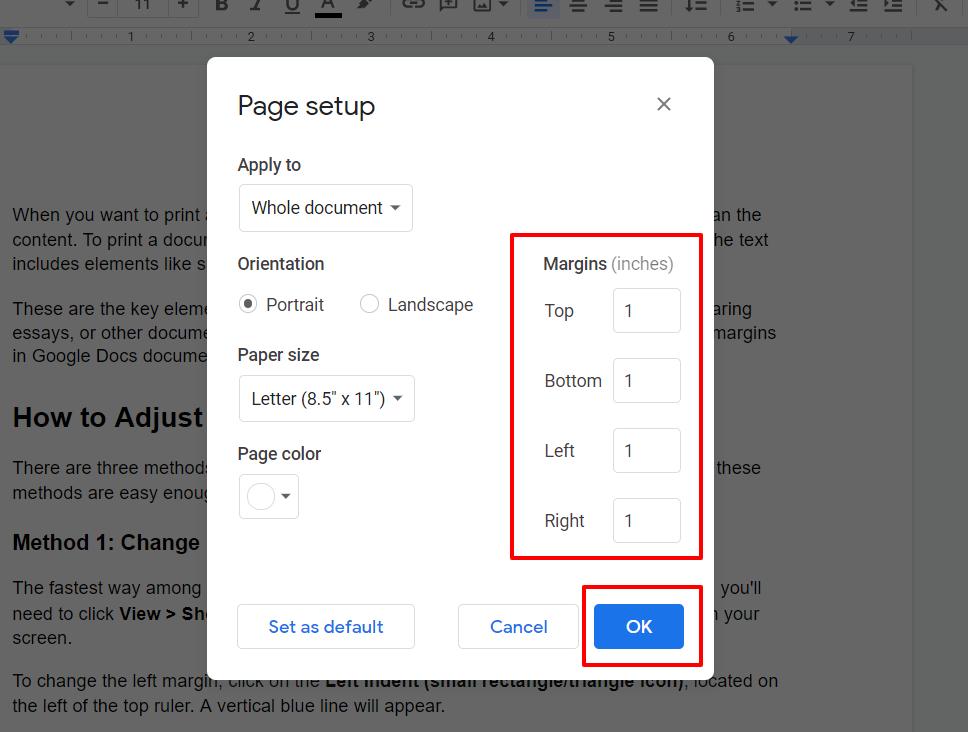 Change Margins in Google Docs with Page Setup