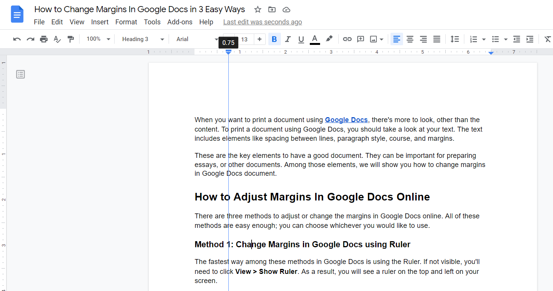 Change Margins in Google Docs with Left Indent Ruler