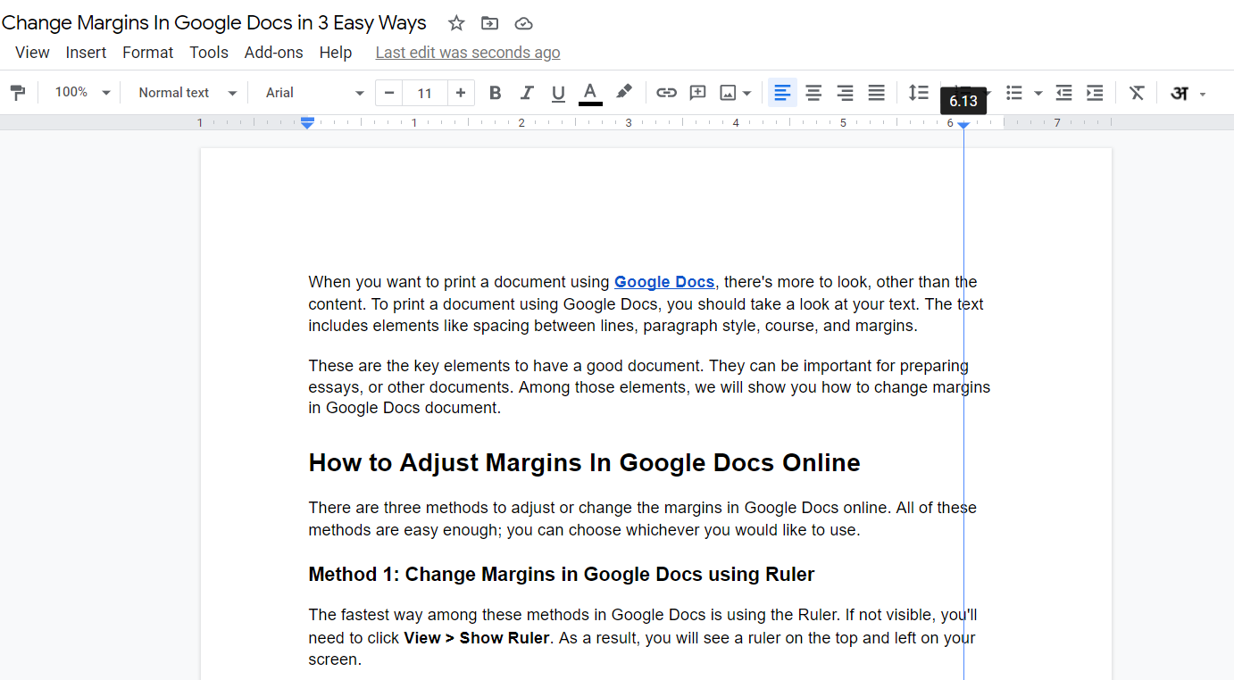 Change Margins in Google Docs with Right Indent Ruler