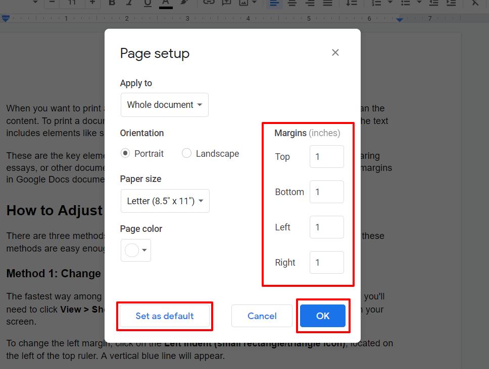 Set Default Margins in Google Docs