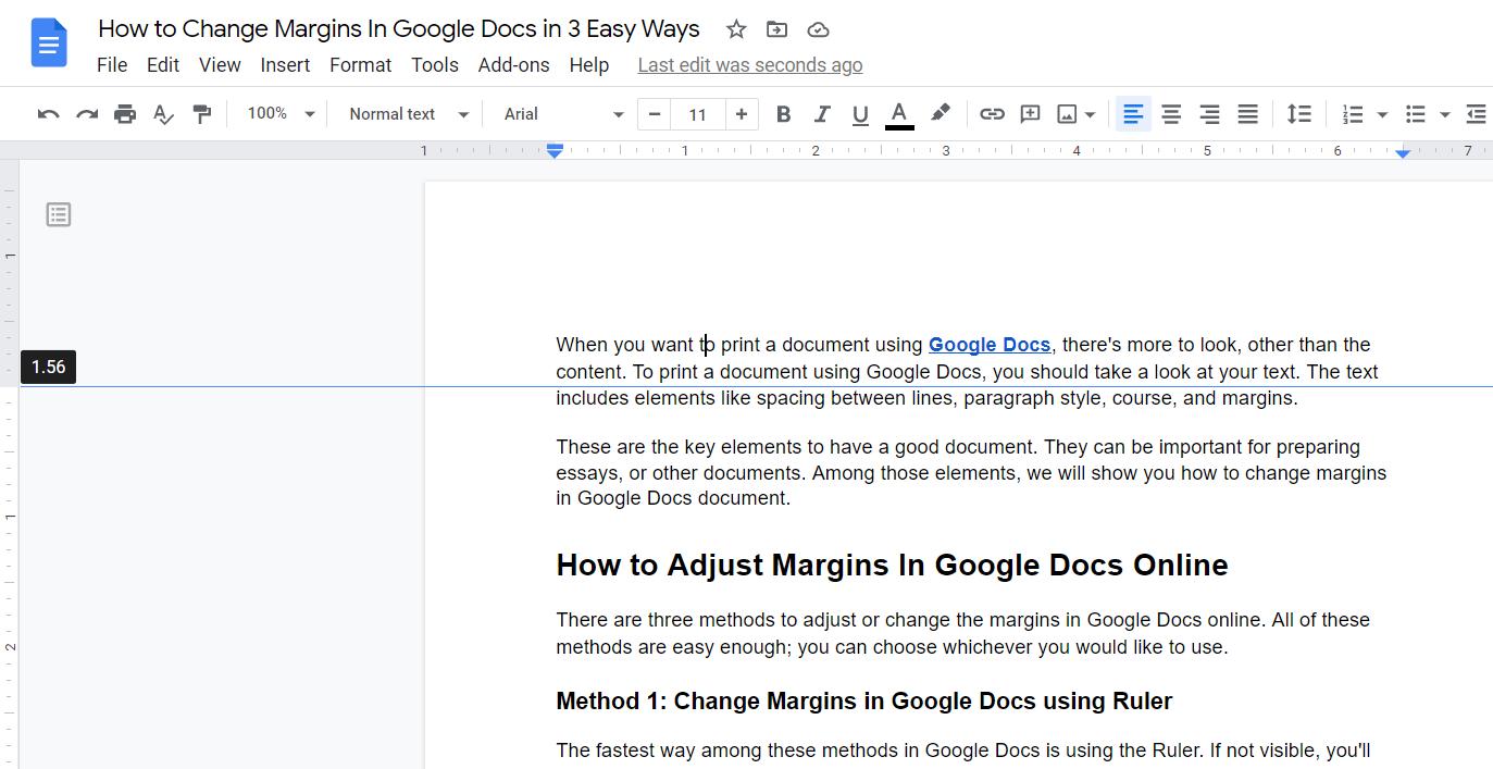 Change Margins in Google Docs with Top Indent Ruler