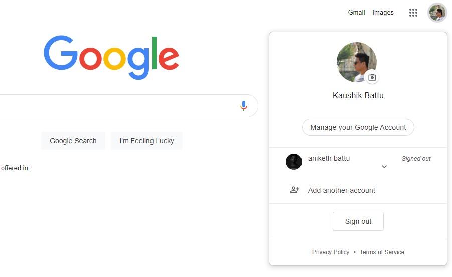 change the default google account