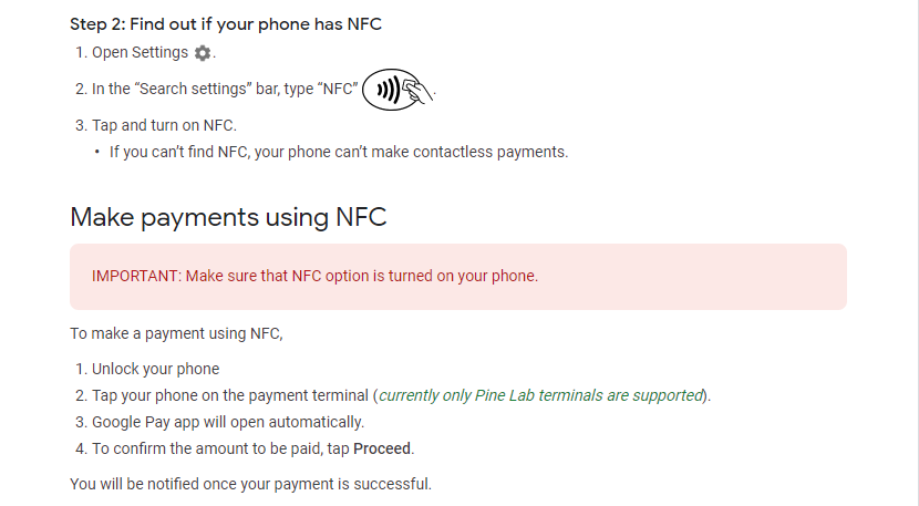 Google pay UPI NFC