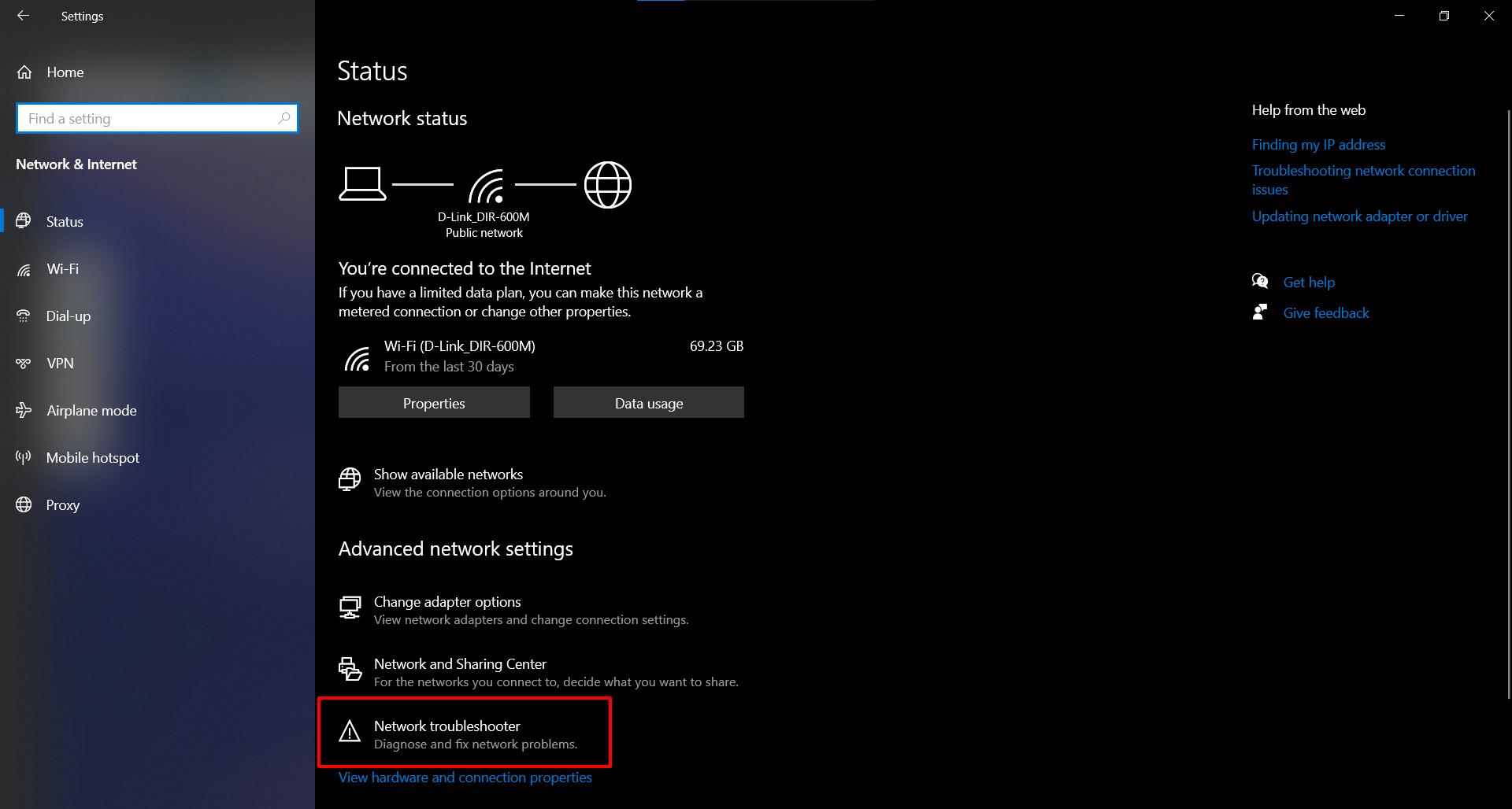 Fix No Internet Access using Windows 10 Network Troubleshooter